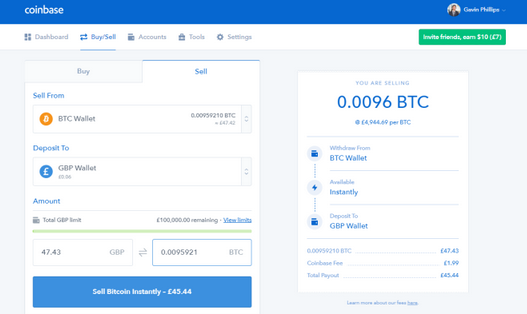 Sell Cryptocurrency Using Coinbase