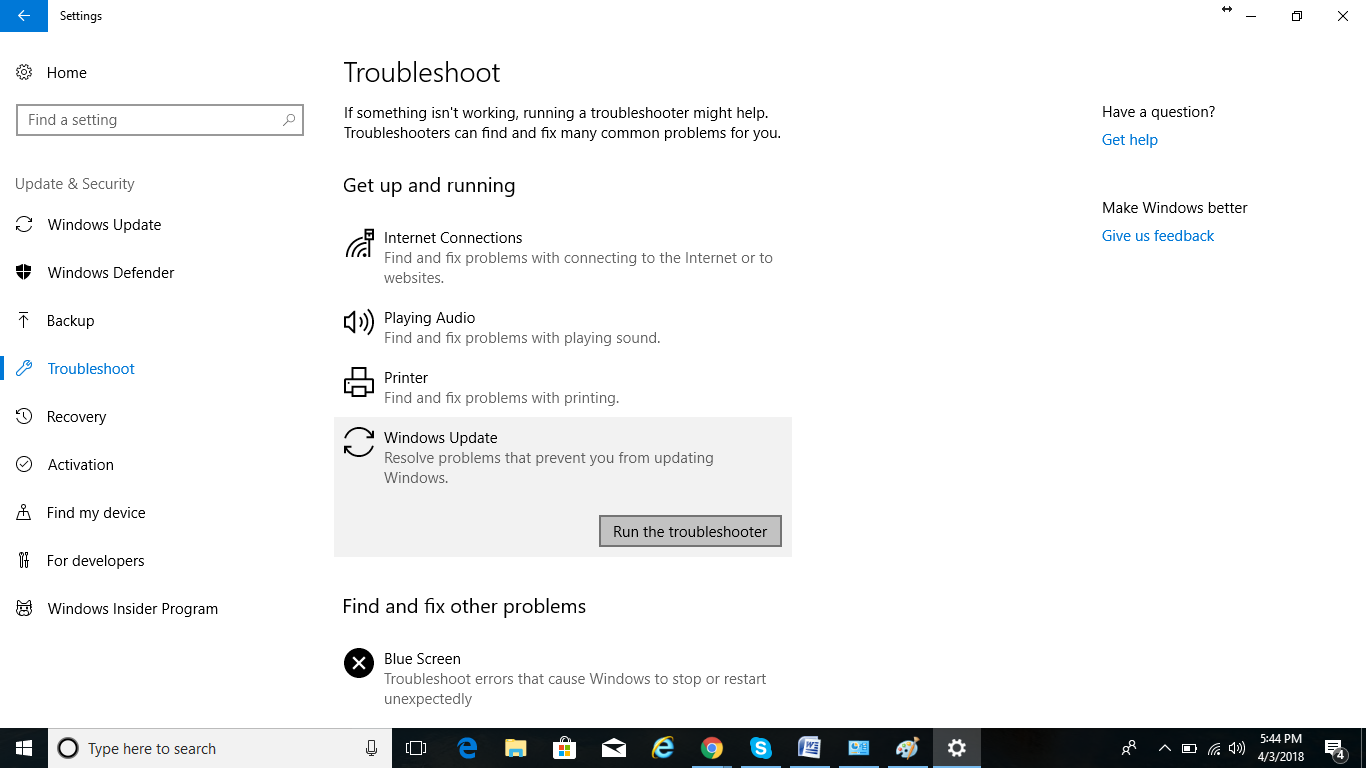 troubleshooter for windows update
