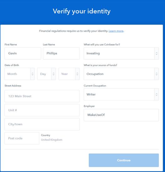verify coinbase identity