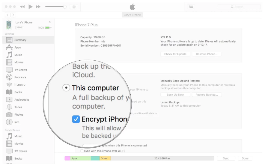 Automatically backup with iTunes