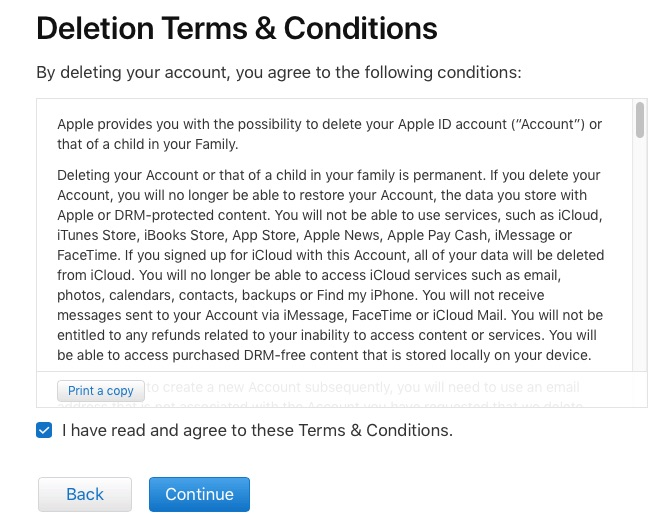 deletion terms and condition
