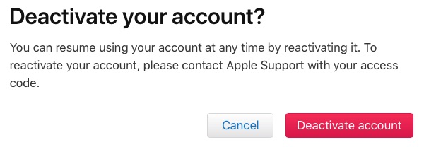 deactivate your apple id