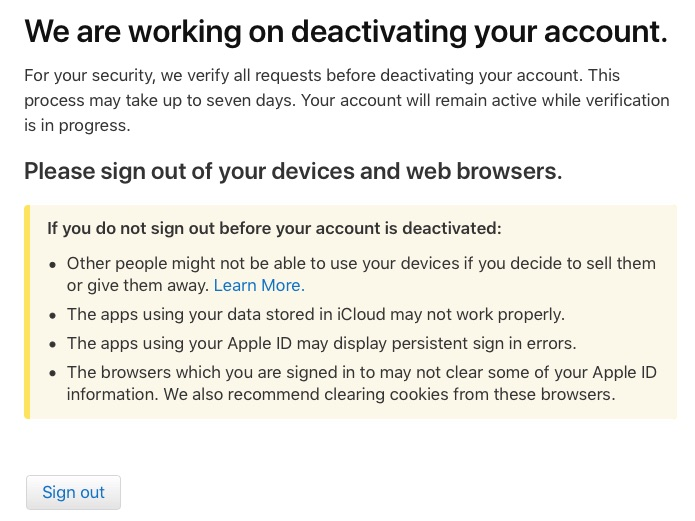 apple id deactivation in process