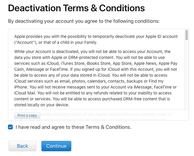 Apple ID deactivation terms page