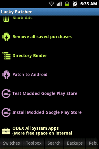 lucky patcher main interface